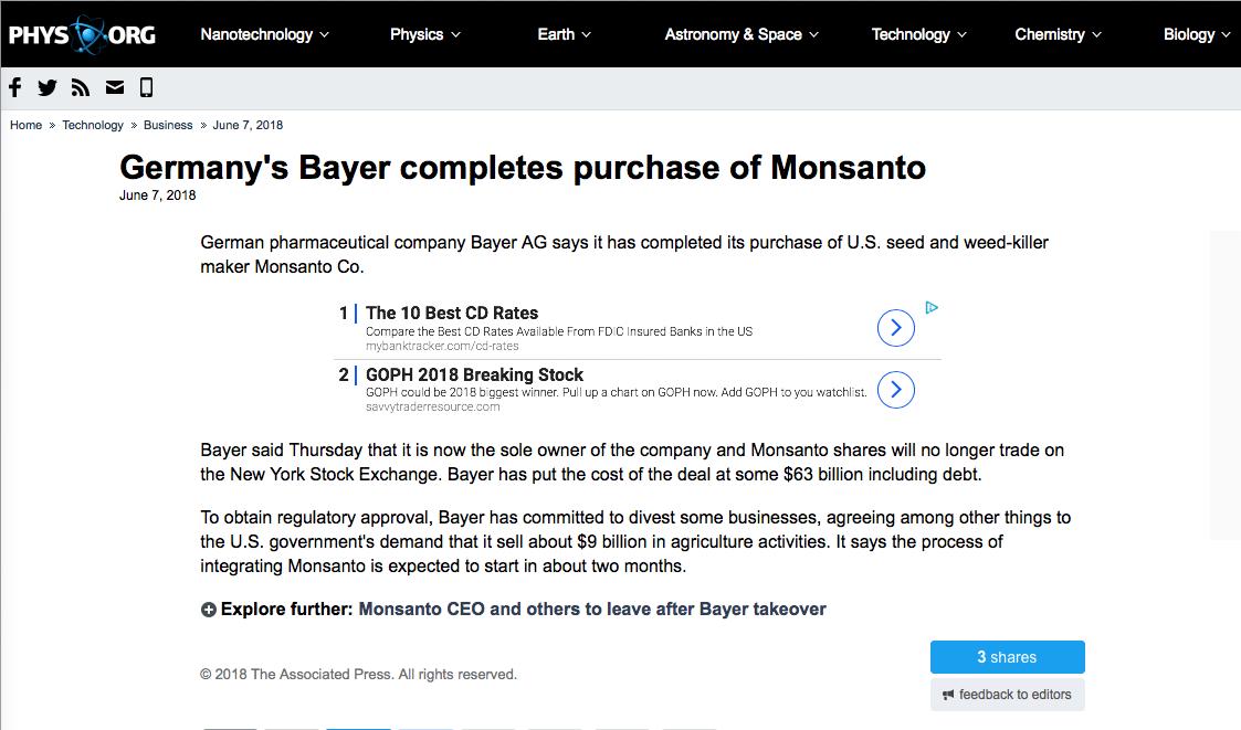 Germany's Bayer completes purchase of Monsanto • ZERO GMO
